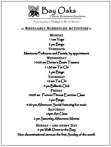 Bay Oaks daily events 2015