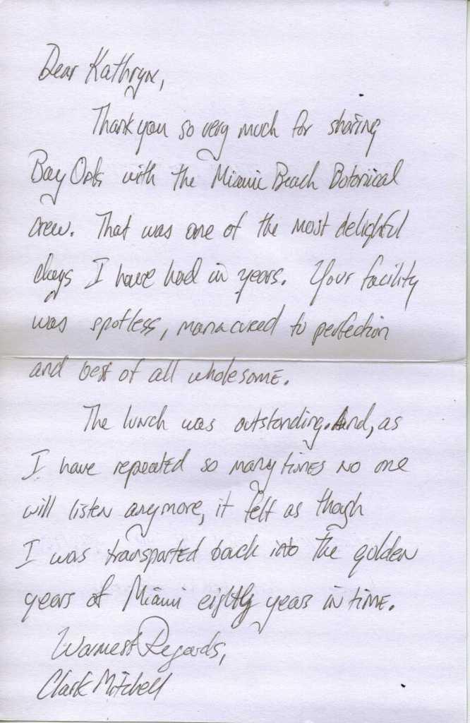 Thank you letter Clark Mitchell, Garden Club